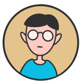Thomas, Mann mit blauem Pulli und Brille, neutraler Gesichtsausdruck