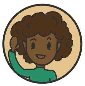 Conny, afroamerikanische Frau mit grünem Pullover, winkt lachend